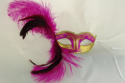 NEW Laser Cut Rose Pink Swan Feather Masquerade Halloween...