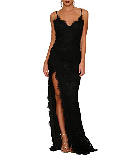 Lalagen Women's Floral Lace Split Long Formal Wedding Dress Evening Gown Black XL (Black Formal Evening Gowns)