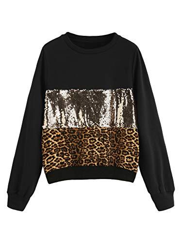 Verdusa Women's Sequin Sweatshirt Long Sleeve Colorblock Loose Pullover Shirt Leopard S ()