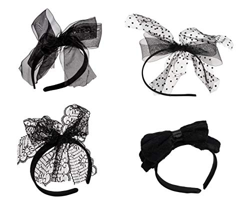 80s Lace Headband - 4-Pack 80's Party Hair Band with Bow, Halloween Costume Theme Dress-Up Accessories, Assorted Designs, Black -