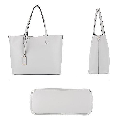 a Donna Pelle Sacchetta Top NAWO Handbag Vera Manico Tote Grigio Handle Shoulderbag Borsa Spalla qSRX56w5