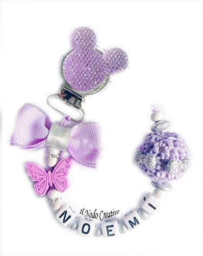 Cadena de chupete | lila Minnie disney | chupetero con ...