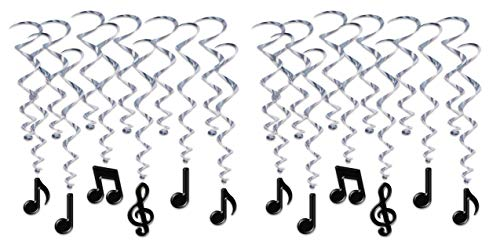 Musical Note Decorations (Beistle 53409 Musical Notes Whirls, 24 Piece, 17½