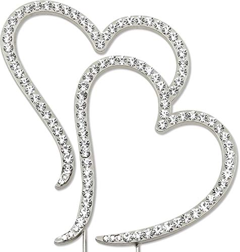 - Double Heart Cake Topper, Wedding Anniversary Engagement Decorations, Crystal Rhinestone Silver
