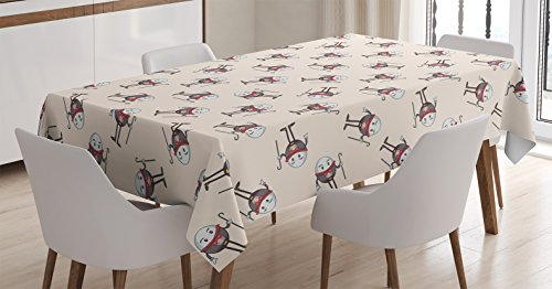 Ambesonne Alice in Wonderland Decorations Tablecloth, Humpty Dumpty Egg Dancing Character Fairy Alice Fantasy Decor, Rectangular Table Cover for Dining Room Kitchen, 60x90 Inches, Pink Brown Red ()