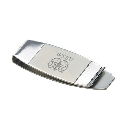 CollegeFanGear Winston Salem Dual Texture Stainless Steel Money Clip 'WSSU Ram Engraved' by CollegeFanGear