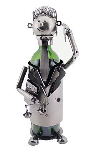 WINE BODIES ZA419 Groomed Court Lawyer Metal Wine Bottle Holder Character, Charcoal (Holders Wine Bottle Metal)
