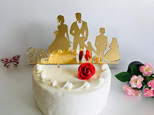 Wedding Cake Toppers with Children Mr and Mrs Cake Decorations Wooden Topper Any Colors Family Silhouette Personalized Bride and Groom Kids Special Custom Orders are Welcome Wedding Cake Decor