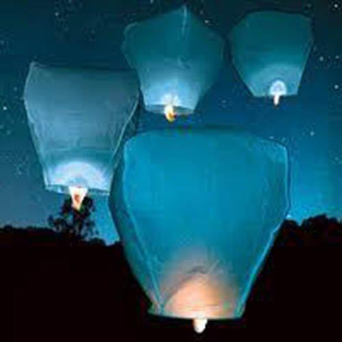 CHINESE SKY LANTERNS 7 COLOURS FLYING LANTERN 10 20 30 40 50 70 100 150 200 PACKS. WEDDINGS (LIGHT BLUE, 10 PACK)