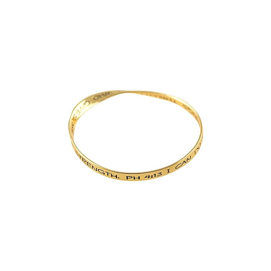 Can Do All Things Through Him Mobius Women's Gold Plated Bangle Bracelet