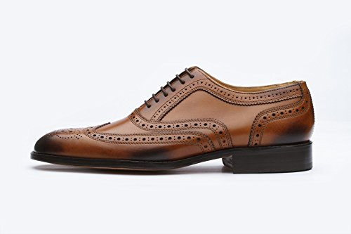3dm Lifestyle Handgemaakt Heren Echt Leer Klassiek Brogue Oxford Wing-tip Lace Up Leer Gevoerde Geperforeerde Jurk Oxfords Schoenen Tan