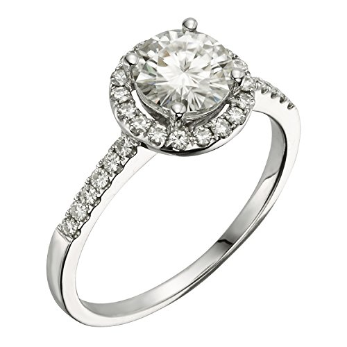 Forever Brilliant White Gold 6.5mm Moissanite Halo Engagement Ring, 1.30cttw DEW by Charles & Colvard