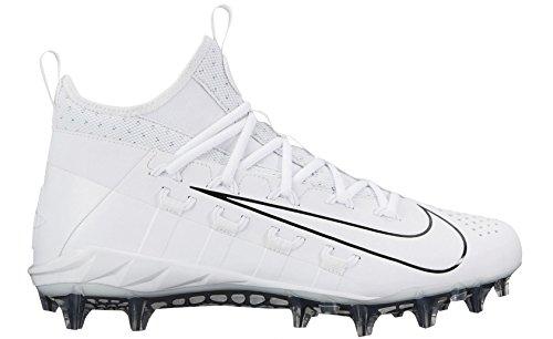Nike Mens Alpha Huarache 6 Elite Lacrosse Cleats (10, White/Black) (Nike Cleats Huarache Lacrosse)