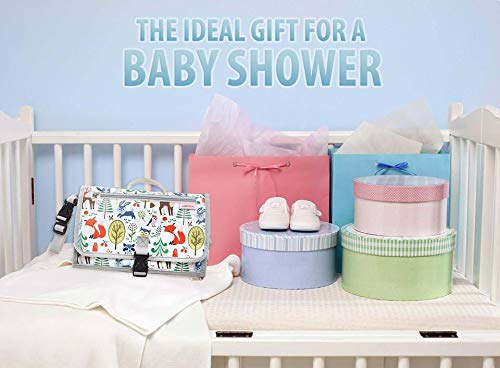Amzia Portable Changing Pad Complete Portable Diaper Changing Station Detachable Unisex Waterproof Baby Changing Mat withPacifier Clip Included
