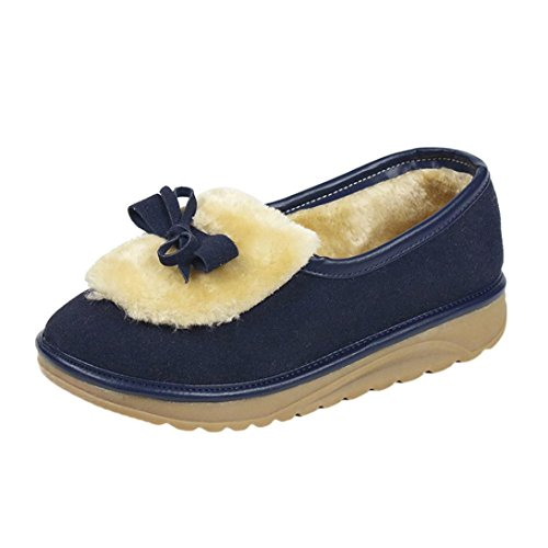 Bowknot Invierno Oto Nieve Botas cachemira de con de Botas Para Sky 37 Oscuro Zapatos Botas y Piel Terciopelo de de e Mujeres Azul Zapatos o de fq0xBv