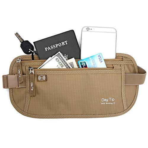 Day Tip Money Belt - Passport Holder Secure Hidden Travel Wallet with RFID Blocking, Undercover Fanny Pack (Beige)