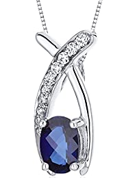 Created Sapphire Pendant Necklace Sterling Silver Rhodium...