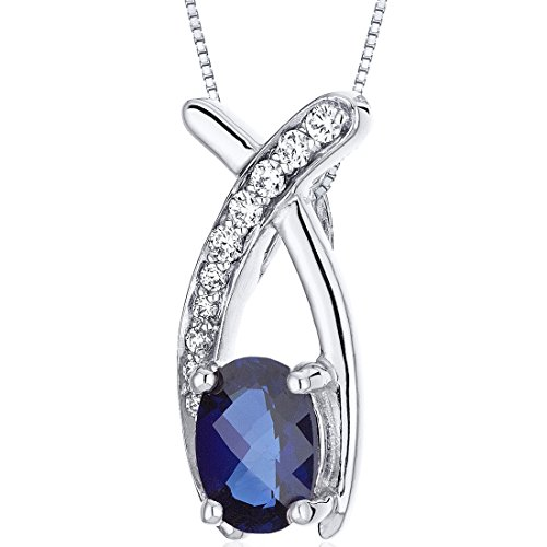 Si1 Sapphire Necklace - Created Sapphire Pendant Necklace Sterling Silver Rhodium Nickel Finish 1.00 Carats Checker Cut
