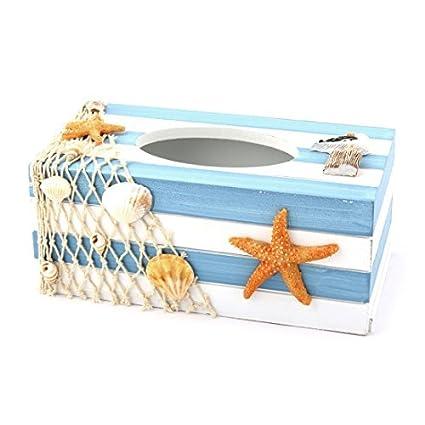 eDealMax de Madera del dormitorio del hogar del ornamento Estrellas de mar Shell Tejido cuadro Titular