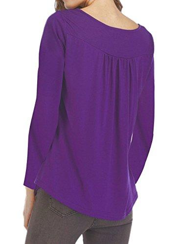 Shirts Blouse Longues Chemisiers Casual Automne T Violet New Manches Tees Printemps Hauts Femmes Tops Plier et Jumpers pvq4Yqw