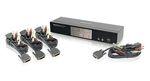 IOGEAR 4-Port Dual-Link DVI KVMP Pro Switch, w/Full Set of Cables,(GCS1204G)