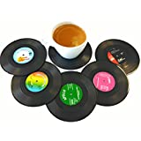 Set of 6 Colorful Silicone Vinyl Record Disk Coasters - Fun Decoration For Your Table And A GR8 Gift for Music Lovers