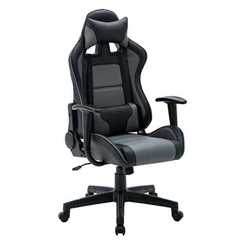 FurnitureR Gaming Chair Ergonomic Racing Chair Adjustable Computer Desk Swivel Chair with Soft PU Armrest -(Black and Gray)