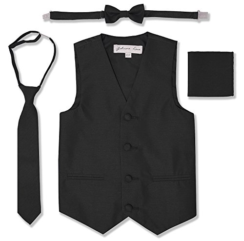 JL34 Boys Formal Tuxedo Vest Set (14, Black)