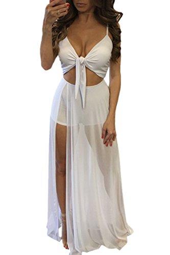 PinkQueen Women's Tie Bra Crop Top Mesh Patchwork Club See Through Dress White (Knot Top Dress)