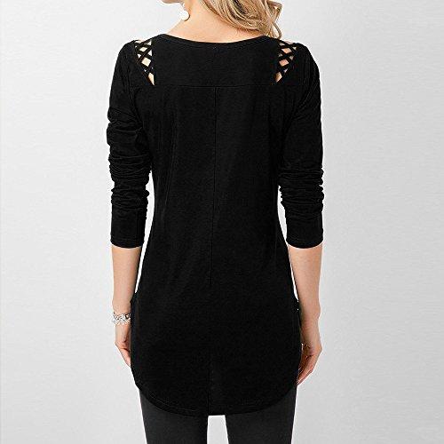 Tops Chandail Crisscross Black Chic Top vider Femme Blouse Shirt T Mode Fleuri Solide Lace Chemisier RTro Longues Manches LGant Pull Blouse fminine xpa1wzqH