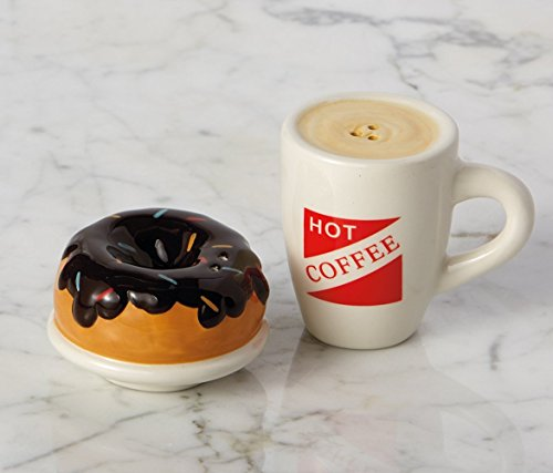 (Hot Coffee and Donut Ceramic Salt and Pepper Shakers )