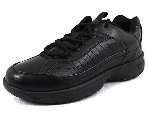 Clogs Athletic Slip (Laforst Eamon Mens Leather and Synthetic Slip Resistant Server Waiter Nurse Lace up Athletic Shoes Black Wide 11)