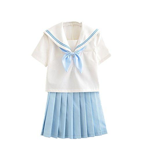 TISEA Japanese Anime Clothes Classic Navy Sailor Suit Short Sleeve Girl Students School Uniforms (Asian S, Sky Blue) ()