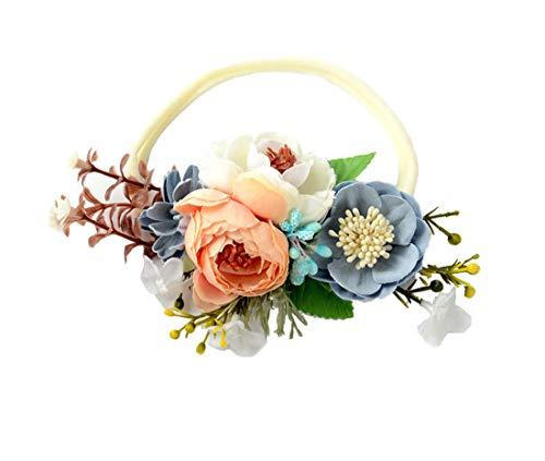 DDazzling Baby headband Felt Flower Crown Floral Crown Headband First Birthday Headband Baby Shower (Champagne and Blue)]()