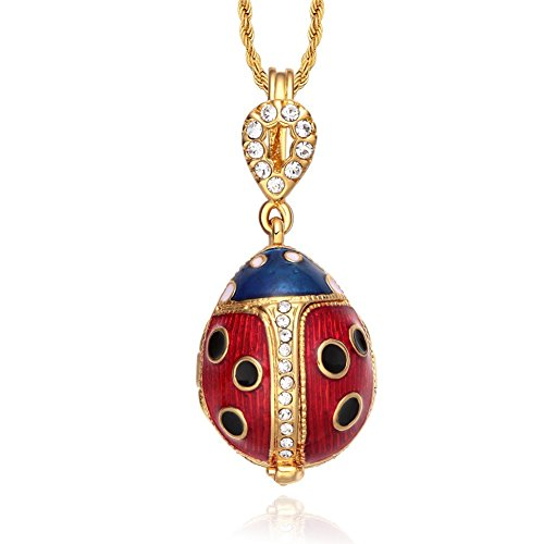 TF Charms Ladybug Pendant Charm Necklace 18 Inches Locket Design with Flower Charm Inside (Red)