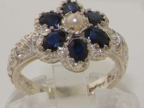 925 Sterling Silver Cultured Pearl & Sapphire Womens Cluster Ring pM9o78