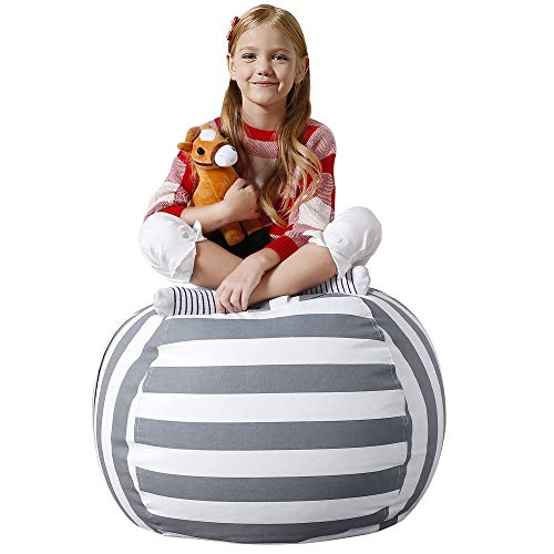 Aubliss Stuffed Animal Bean Bag Storage Chair, Beanbag Covers Only for Organizing Plush Toys. Turns into Bean Bag Seat for Kids When Filled. Premium Cotton Canvas. 32