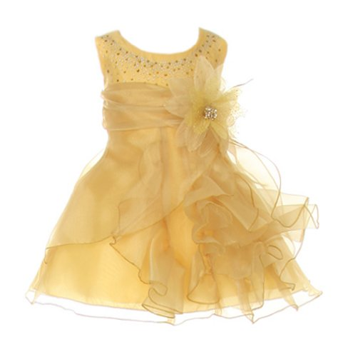 Cinderella Couture Baby Girls Cascading Organza Dress Gold Med 12M ()