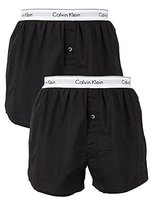 Calvin Klein Men's 2 Pack Logo Slim Fit Boxers, Black