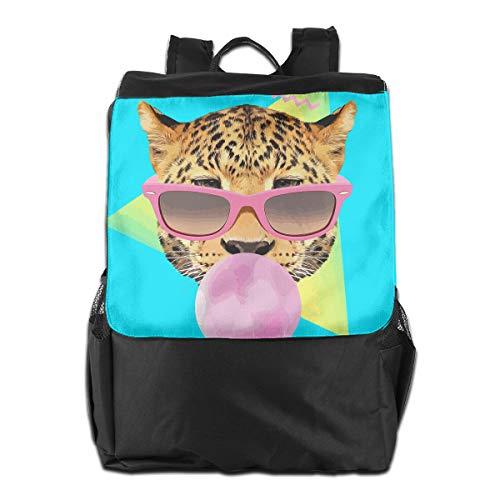 Louise Morrison 90s Style Bubble Gum Leopard Women Men Laptop Travel Backpack College School Bookbag Black - Leopard Bubble Gum