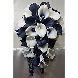 Navy Blue Ivory White Calla Lily Cascading Bridal Wedding Bouquet & Boutonniere 78