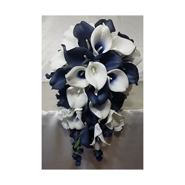 Navy Blue Ivory White Calla Lily Cascading Bridal Wedding Bouquet & Boutonniere