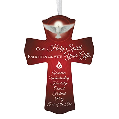 Confirmation Cross Come Holy Spirit Wooden with Ribbon Hanger, 6 -