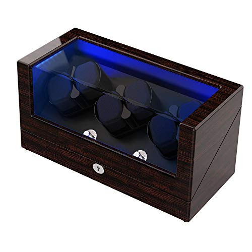 TRIPLE TREE Watch Winder, for Rolex Automatic Watches with Soft and Flexible Watch Pillows, Wooden Shell, Powered by Japanese Motor, Built-in Blue LED Illuminated, with USB Power Cord