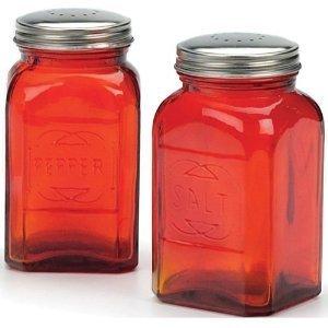 Amazoncom Rsvp Retro Red Glass Salt Pepper Shakers Home Kitchen