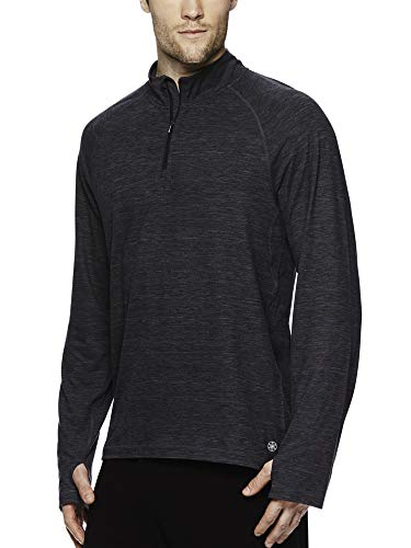 Gaiam Mens 1/4 Zip Up Activewear Pullover Shirt - Long Sleeve Running & Yoga Sweater