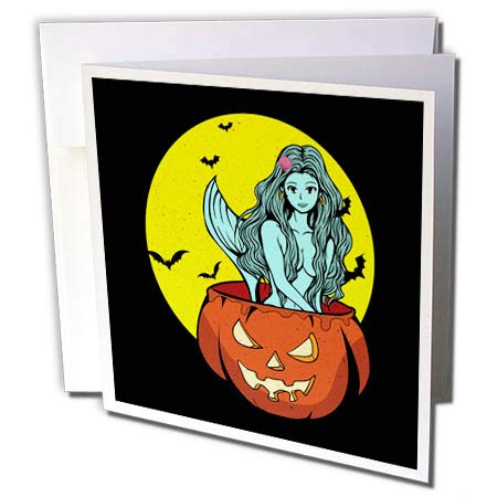 3dRose Sven Herkenrath Celebration - Funny Halloween Design with Pumpkin and Mermaid - 6 Greeting Cards with envelopes (gc_296566_1) ()