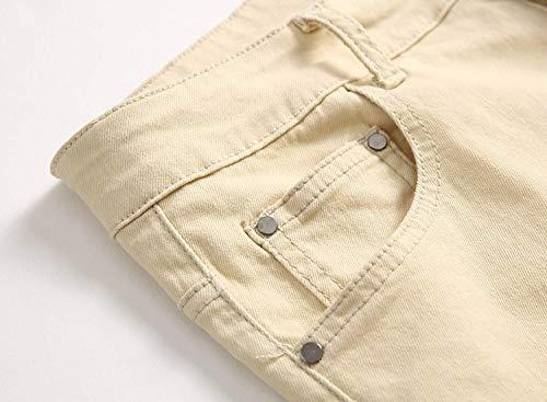 Denim Vita Da Retrò Stretch Strappati A Alla Media Jeans Khakiblack Uomo Especial Pantaloni Buchi Moda Elasticizzato Con Casual Estilo In 6AwxYqd