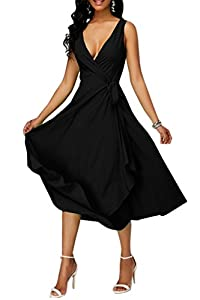 Ashuai Women's Deep V Neck Sleeveless Wrap Self Tie Flowy Party Prom Gown Cocktail Dress