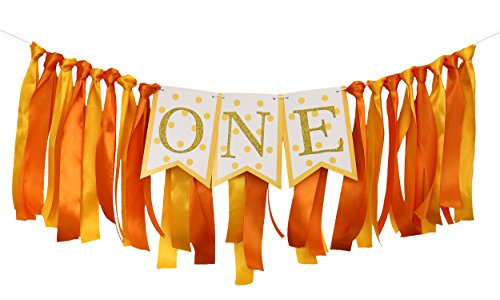 ONE Birthday Banner with Ribbon Backdrop, Handmade 1st Highchair Party Decoration for Baby Boys and Girls